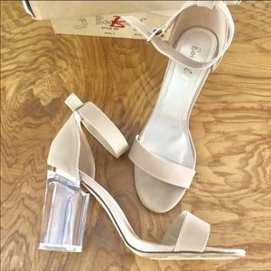 🆕💎EUC Blush colored lucite heeled sandals
